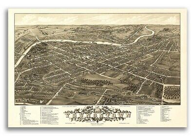 1882 Youngstown Ohio Vintage Old Panoramic City Map - 24x36