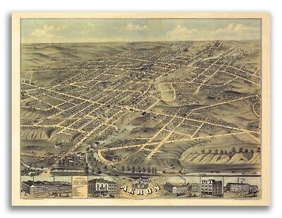 1882 Akron-Middlebury Ohio Vintage Old Panoramic City Map - 20x28