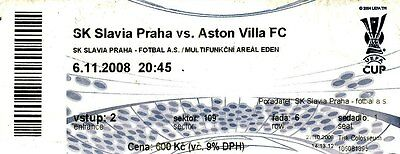 SLAVIA PRAHA v ASTON VILLA.UEFA Cup.Used Match Ticket 2008/09