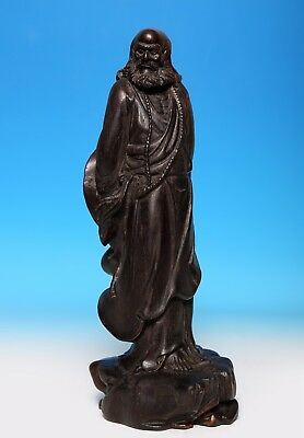 Fabulous Rare Old Vintage Chinese Wooden Buddha Standing Statue Sculpture US248