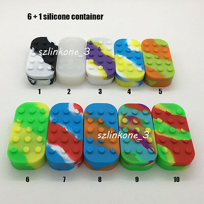 2 Silicone Container 6+1 Wax Dab Oil Jars Pass FDA &LFGB Test