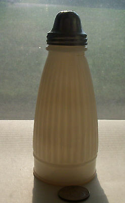 VINTAGE  BLACK PEPPER MILKGLASS BOTTLE WITH METAL TOP - 1920's period