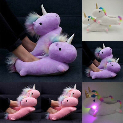 3 Colors LED Light Glowing Unicorn Slipper Creative Household Items Indoor,New