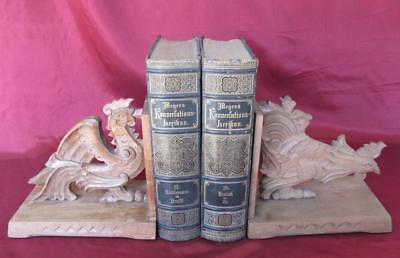 19C Antique Wooden Hand Made Pair Of Bookend Bookshelf Book Stoppers