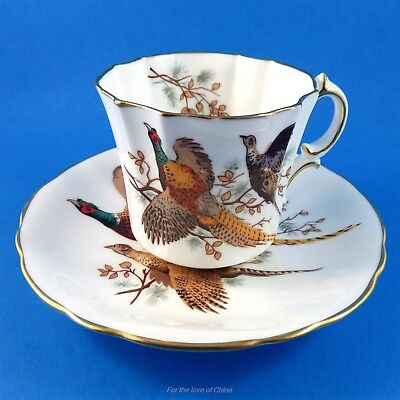Unusual Hammersley Pheasant Tea Cup and Saucer Set