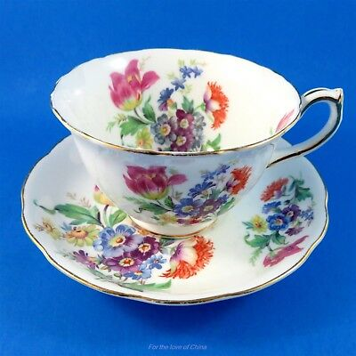 Colorful Floral Hammersley Tea Cup and Saucer Set