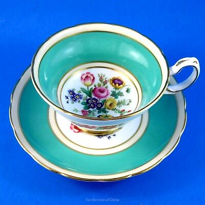 Lovely Teal Green Border with Floral Center Grosvenor Tea Cup and Saucer Set