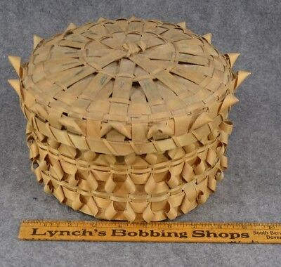 basket splint ash twist Native American Abanaki  Mic Mac antique original rare