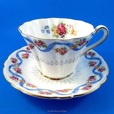"Striking Floral ""Blue Ribbon"" Gladstone Tea Cup and Saucer Set"