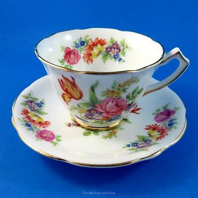 Pretty Bright Floral Gladstone Demitasse Tea Cup and Saucer Set
