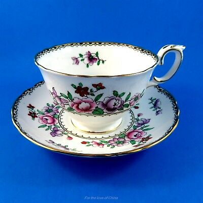Pretty Pink Purple and Red Floral Crown Staffordshire Tea Cup and Saucer Set