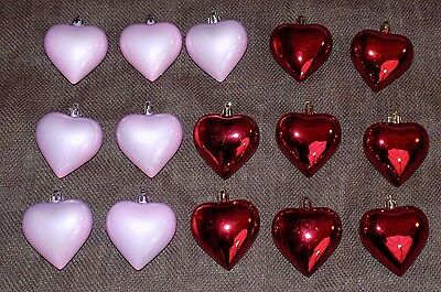 "Valentine's Day Set of 15 Pink Red Heart Ornaments 2.5"" Decor Love Wedding"