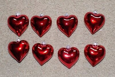 "Valentine's Day Set of 8 Red Heart Ornaments 2.5"" Decor Love Wedding"