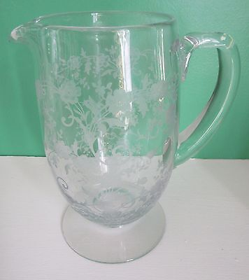 Rare Large Fostoria Etched Buttercup Footed Pitcher 54 oz.