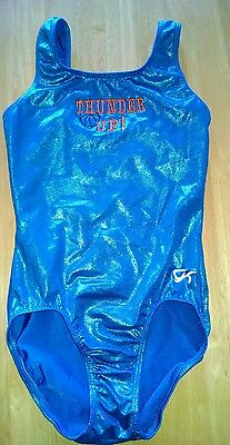 Gk elite gymnastics leotard blue foil Thunder Up okc adult xs