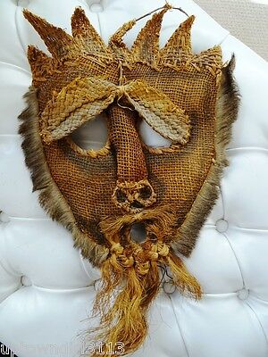 oddity BURLAP MASK & REAL FUR vintage TRIBAL? different STRAW GRASSES scary UGLY
