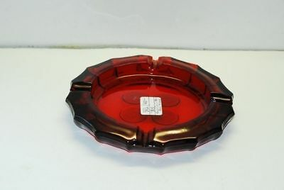 Fostoria COIN Glass Frosted Ruby Red 4-Coin Round Ash Tray