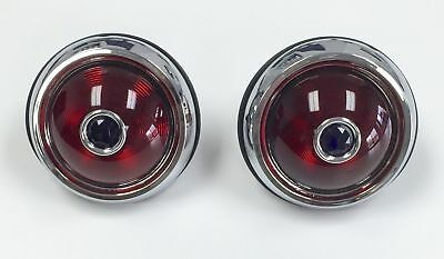 Hot Rod 1950 Pontiac Style Glass Lens Tail Lights With Blue Dots Pair Rat Rod
