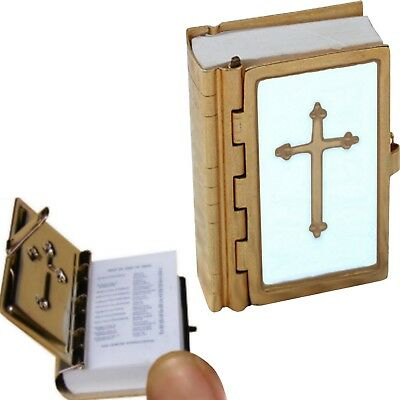 Tiny Mini Bible Small Minature Holy Old New Testament Religious Brass White New