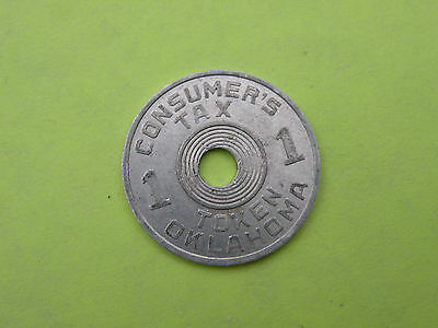 "Aluminum Oklahoma tax token, value ""1"", OLD AGE PENSIONS 7/8"", Good"