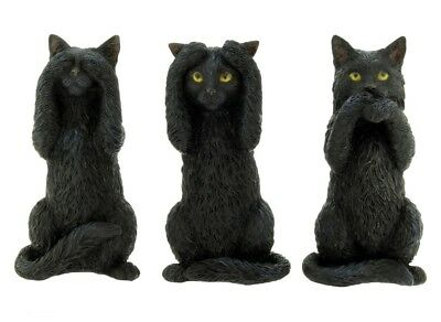 New * Three Wise Cats *  Black Cat Figurine Statue Nemesis Now - Free Postage