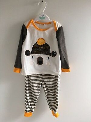 Ex M&co Baby Boys Velour Winter Pyjamas Set Rrp £13
