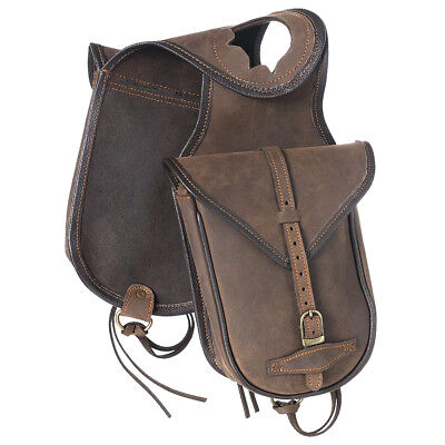 Tough 1 Soft Leather Saddle Horn Bag W/ Two Pockets Dee Rings Brown