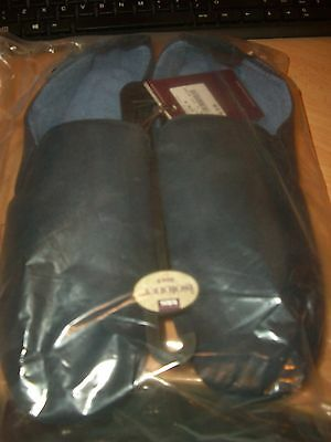 Totes Isotoner Mens Navy Slippers Uk 9 Brand New With Tags Suede Sole