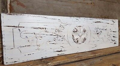 """Shabby Carved Wood Panel 33"""" Antique French Gothic Rosace Architectural Salvage"""