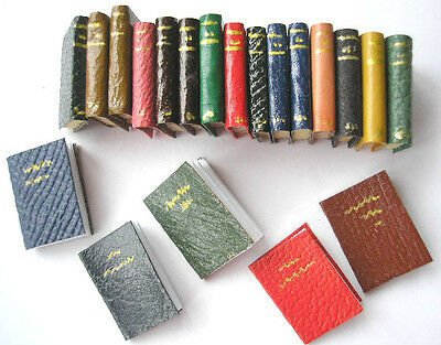 KIT 1/12th scale 20 LEATHER COVERED BOOKS (5 OPEN) library exercise books HB