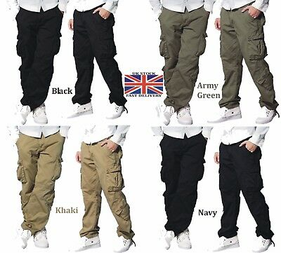 Mens Cargo Military Trousers Six Pocket Army Combat Pants & New Boys Trousers
