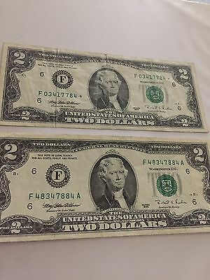 1995 $ 2.00 Federal Reserve Note Regular & Star Notes Circulated