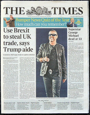 The Times Newspaper George Michael Dead Front Page Tribute 26 Dec 2016 Wham!