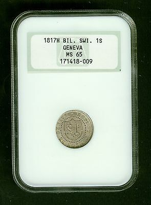 1817H Swiss Cantons Geneva One Sol, 1Sol   Graded NGC MS65