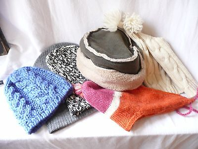 Job lot 6 ladies winter hats Woollen knitted faux sheepskin Gap New Look various