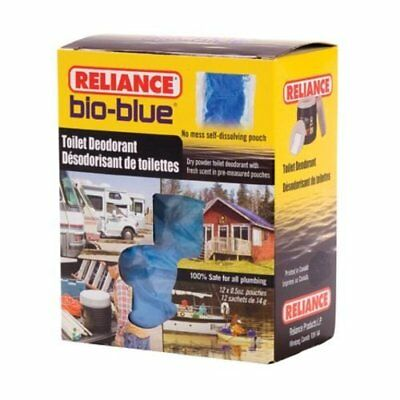 Reliance Chemical Bio-Blue Toilet Deodorant 12-Pack Portable Pouches Camper New