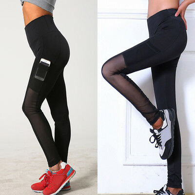 Women High Waist Yoga Leggings Trousers Ladies Gym Sports Mesh Pants W/ Pocket 1