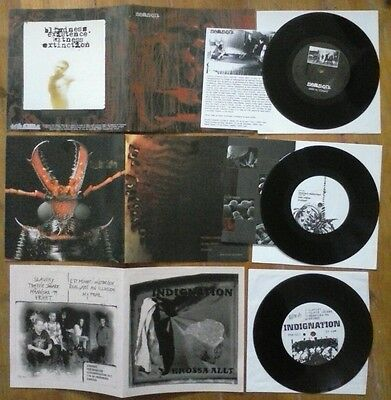 "3 x 7"" singles mixed crust punk, grind, thrash, screamo"