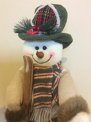 Skiing Snowman Figure Holiday Frosty Figurines Christmas Decorations Winter Home