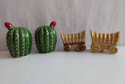 Vintage Western Southwestern Ceramic Cactus & Covered Wagon Salt Pepper Shakers