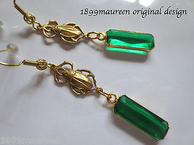 Egyptian Revival Art Deco earrings green drop Art Nouveau 1920s vintage style