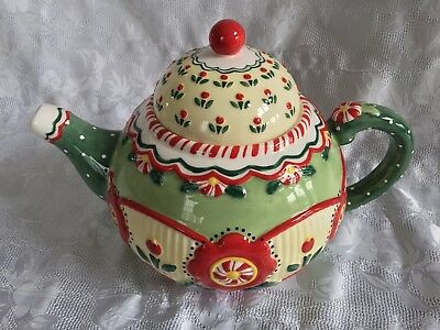 Mary Engelbreit Michel ME Ink 2001 Christmas Teapot Maryment Peppermint