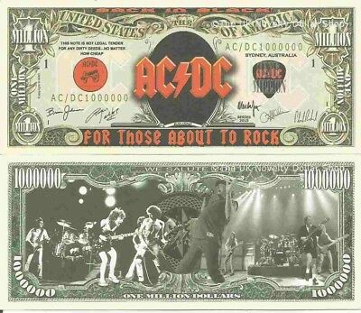 AC DC Back In Black For Those About To Rock We Salute You Million Dollar Billsx4