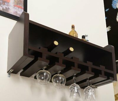 Wine Rack and Glass Holder Venire Wall-Mounted Durable and Long-Lasting Walnut