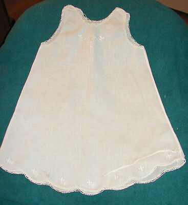 VTG Baby Slip White Cotton Lawn with embroidery.  Repairs.  Selling as is.