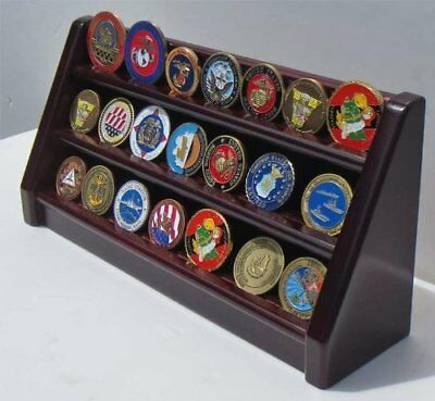 3 Rows Challenge Coin Casino Chip Display Stand Rack Holder - Mahogany Finish