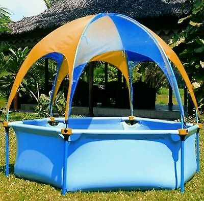 Above Ground Kids Splash Pool Wading UV Shade Cover w Rain Shower, Metal Frame