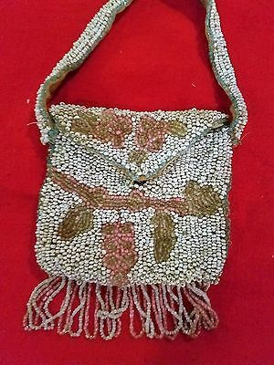 VINTAGE~Unique~ Beaded Strapped Change Purse~With Fringe~White Pastel Colors