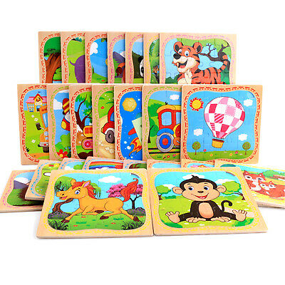 16PCS Wooden Cute Animals Baby Kids Puzzle Learning Educational Toy Fashion CHIC