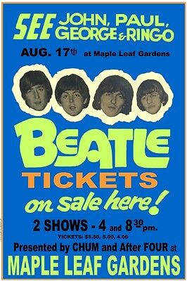 The Beatles 1966 box office CONCERT POSTER Maple Leaf Gardens Toronto